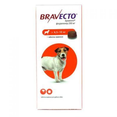 BRAVECTO (Бравекто) - от клещей и блох для собак на вес 2 - 4,5 кг, 4,5 -10 кг, 10 - 20 кг, 20 - 40 кг, 40 - 56 кг 1 таблетка