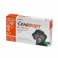 Селафорт для собак №1 60 мг/0,5 мл Спот Он (от 5,1-10 кг) КРКА 1 пипетка