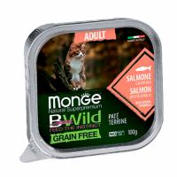 MONGE BWILD WET CAT Adult лосось с овощами 100 г
