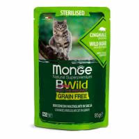 MONGE Cat BWild GRAIN FREE Sterilised wet, BOAR - Монже беззерновой с мясом кабана и овощами для стерилизованных кошек, влажный корм 85 г, пауч