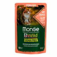 MONGE Cat BWild GRAIN FREE Sterilised, SALMON, Wet - Монже беззерновой с лососем, креветками и овощами для стерилизованных кошек влажный корм 85 г, пауч