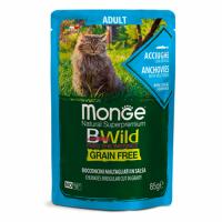 MONGE Cat BWild GRAIN FREE Adult, ANCHOVY, Wet - Монже беззерновой с анчоусом и овощами для взрослых кошек влажный корм 85 г, пауч