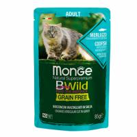MONGE Cat BWild GRAIN FREE Adult, COD FISH and CHRIMP, Wet - Монже беззерновой с треской, креветками и овощами для взрослых кошек влажный корм 85 г, пауч