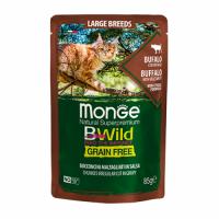 MONGE Cat BWild GRAIN FREE Large Breeds All Life Stage, BUFFALO, Wet - Монже беззерновой с мясом буйвола и овощами для кошек крупных пород (с 2-х месяцев) влажный корм 85 г, пауч
