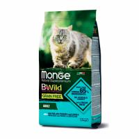 MONGE Cat BWild GRAIN FREE Adult, COD FISH - Монже беззерновой с треской для взрослых кошек сухой корм 1,5 кг