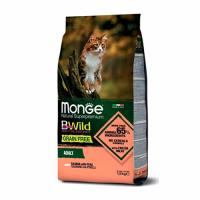 MONGE Cat BWild GRAIN FREE Adult, SALMON - Монже беззерновой с лососем для взрослых кошек сухой корм 1,5 кг
