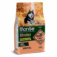 MONGE Dog BWild GRAIN FREE Adult All Breeds, SALMON - Монже беззерновой с лососем для взрослых собак всех пород сухой корм 2,5 кг; 15 кг