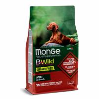 MONGE Dog BWild GRAIN FREE Adult All Breeds, LAMB - Монже беззерновой с ягненком для взрослых собак всех пород сухой корм 2,5 кг; 15 кг