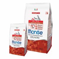 Monge NS Dog Mini Puppy and Junior (lamb and rice) - Монже полноценный корм для щенков маленьких (до 10 кг) собак с 2 до 12 месяцев (сухой корм с ягненком и рисом) 0,8 кг; 2,5 кг