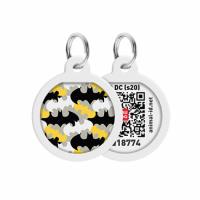 """Адресник WAUDOG Smart ID c QR паспортом, премиум, рисунок """"Бэтмен узор"""", круг, Д 25 мм"""