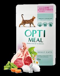 Optimeal для взрослых кошек с индейкой и овощами 85 г